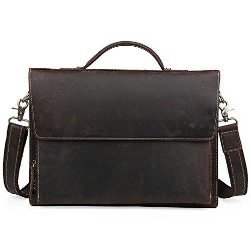Men Retro Leather Business Bag Briefcase Single Shoulder Tote Handbag for 13″ Laptop Notebook Tabllet Shoulder Bag Large Capacity Leather Computer Bag