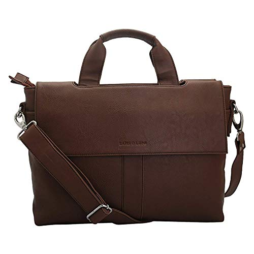 Lapis O Lupo Apricot Unisex Laptop Bag Tan Designer Satchel bags with Multi Pocket