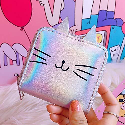 Xennos Wallets – 100pcs/lot Cartoon Cat Women Leather Wallets Kawaii Short Purse PU Coin Purse Small Zipper Clutch Bag Female Card Holder Wallet