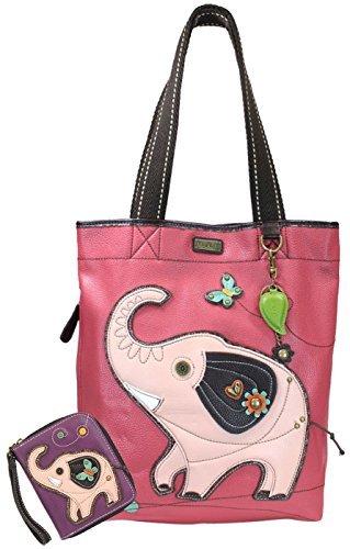 Chala Handbags Everyday Tote Women Handbag with Zip Around Wallet (Elephant)