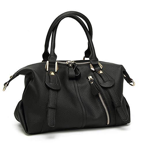 Nuanxingjiafang Handbag Casual Black Boston Bag, Ladies Shoulder Bag Crossbody Bag, Large Capacity Leather Bag, 30 14 22cm Fashion