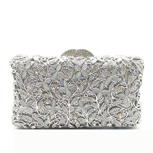 BuyBuyBuy Clutch Evening Bag Evening Bag Silver Diamond Evening Dress Bag Handbag Singles Bag Messenger Bags 17 10 5cm Storage Tool