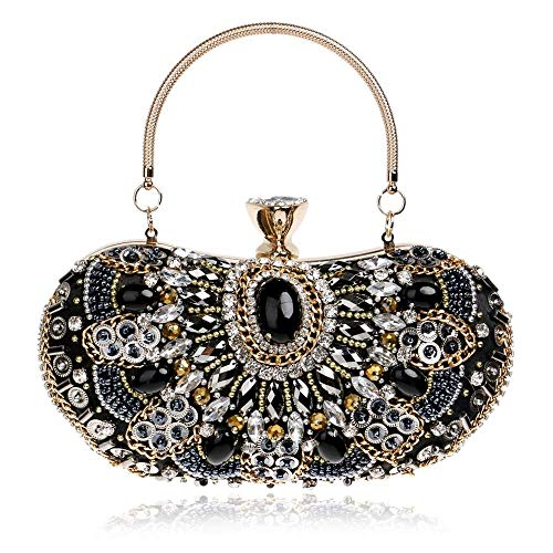NSHUN Vintage Women Beaded Evening Handbags and Purses Wedding Cocktail Clutch Bag,Party Banquet Bag Crystal Rhinestone Evening Clutch Bags Bridal Chain Shoulder Tote (Color : Black)