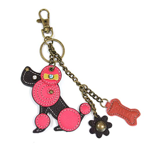 Chala Puppy Dog Spring Poodle Key Chain Purse Leather Bag Fob Charm New