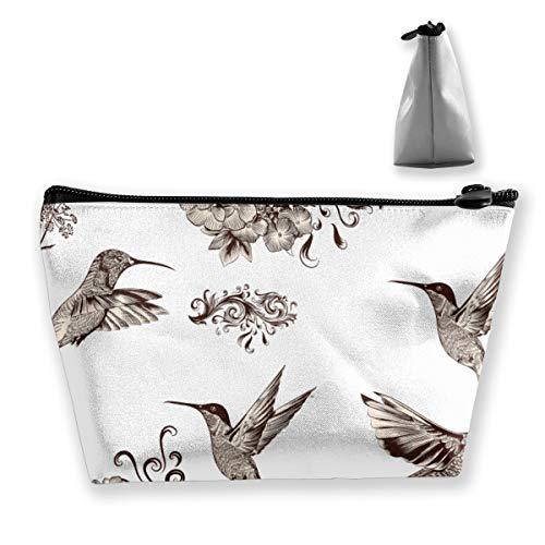 Flower Hummingbird Canvas Makeup Bag Pouch Purse Handbag Organizer with Zipper
