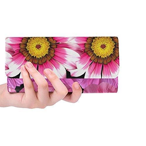Unique Custom Flowers Pink Nature Pink Flowers Garden Women Trifold Wallet Long Purse Credit Card Holder Case Handbag