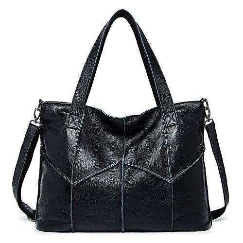 Nuanxingjiafang Handbag-Temperature Simple Tote Bag Handbag, Shoulder Bag Crossbody Bag, Leather, Large Capacity, Black, 43 12 32cm Fashion