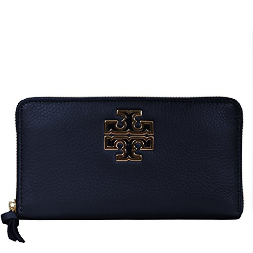 Tory Burch Wallet Zip Around Britten Silver TB Logo Leather (Hudson Bay)