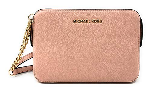 Michael Kors Adele Leather Leather Crossbody Bag in Pastel Pink