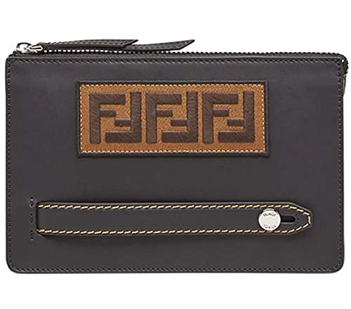Fendi FF Zucca Logo Patch Pouch Clutch Calf Leather Black Palladium 7VA350