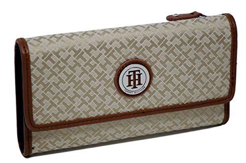 Tommy Hilfiger Wallet Khaki Canvas Checkbook Woman's