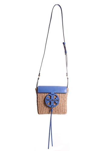 Tory Burch Miller Straw Leather Crossbody Handbag in Regal Blue