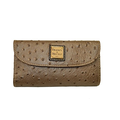 Dooney and Bourke Ostrich emb Leather Continental Clutch Pewter/Black