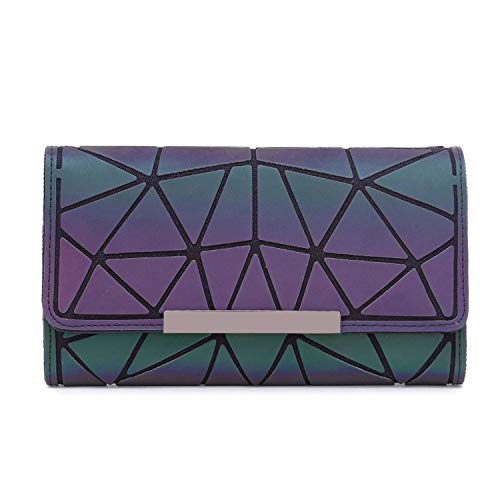 Fashion Women Long Wallets Purse Female Geometry Luminous Clutch Female Phone Bag Three Fold Card Holder Carteira Qb277,05