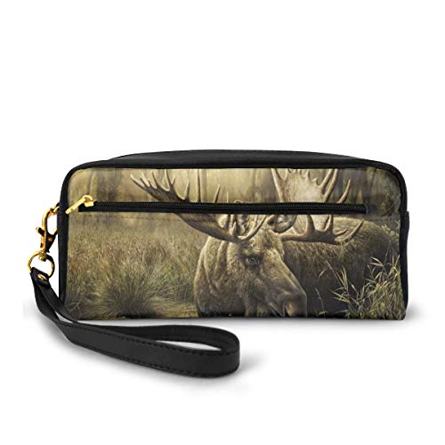 Elk Canvas Makeup Bag Pouch Purse Handbag Organizer with Zipper