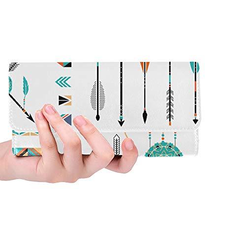 Unique Custom Arrows Indian Elements Aztec Borders And Embelli Women Trifold Wallet Long Purse Credit Card Holder Case Handbag