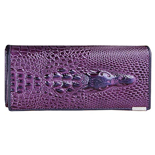 Colors Women Wallet Female Coin Purses Holders Genuine Leather 3D Embossing Alligator Ladies Crocodile Long Clutch Bags,Purple