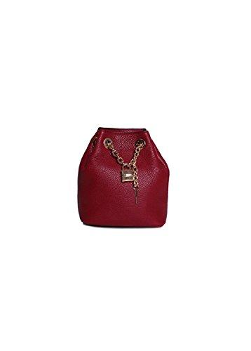 Michael Michael Kors Hadley Leather Drawstring Lock Messenger Handbag in Cherry