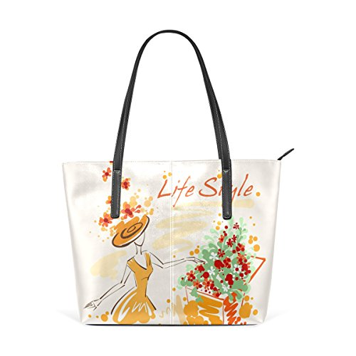 Women's Designer Handbags Tote Bags Fashion Leather Shoulder Top-handle Bag Clutch Purse with Novely Graphic Life Style Girl And Flowers