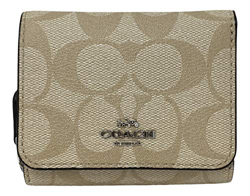 Coach Signature Small Compact Tri-Fold Wallet Light Khaki Carnation F41302