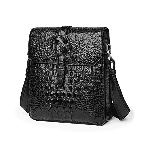 LLMLCF Crocodile Men's Bag, Leather Shoulder Bag, Cut Corner Design, Business Casual high-end Cross-Body Bag