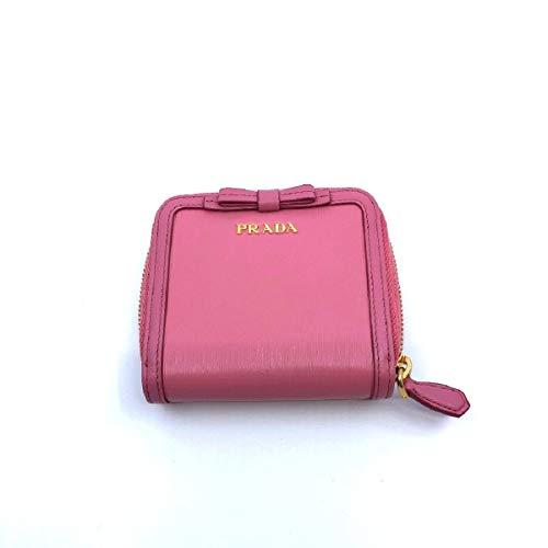 Prada Portafoglio Lampo Fuxia Light Pink Vitello Move Zip Flap Bow Wallet 1ML522