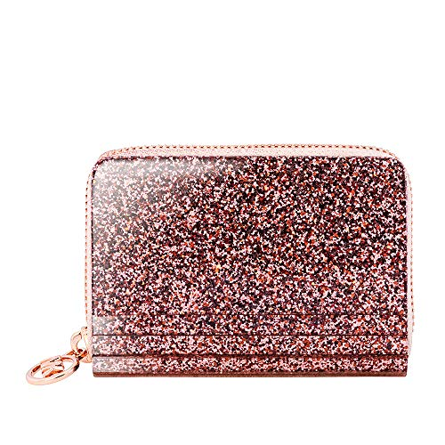 Michael Kors Barbara Zip Around Metallic Coin Case- Rose Gold