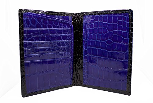 Full Alligator Passport Wallet in Black and Blue American Alligator by Designer John Allen Woodward