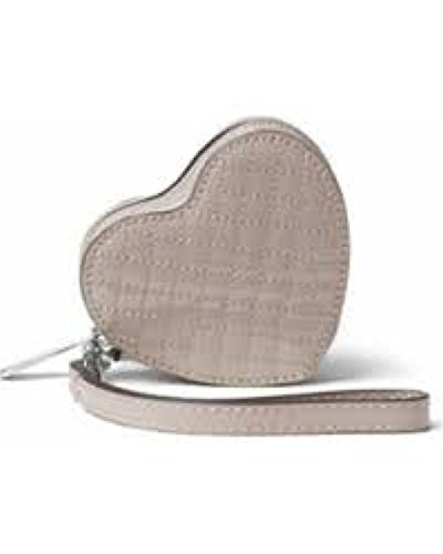 Michael Kors Patent Leather Heart Coin Purse Pearl Grey 32F6GH9P1A