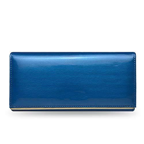 Genuine Leather Women'S Wallets Patent Leather Long Ladies Wallets Clutch Design Purse Hand Bags Women Purses Bc150,Bethcat Blue