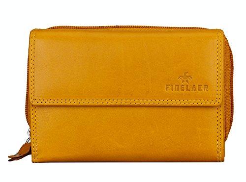 Finelaer Women Yellow Leather Small Clutch Purse Wallet