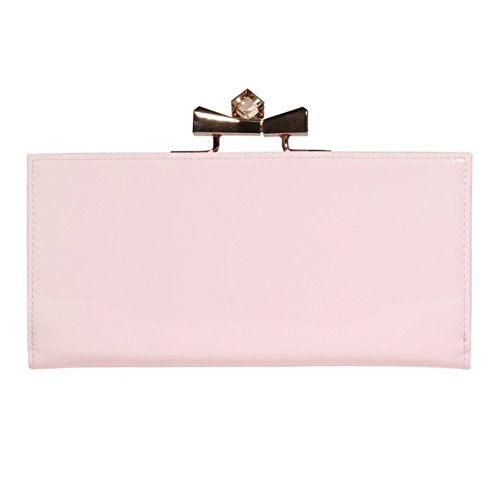 Ted Baker Franny Crystal Popper Baby pink Patent Leather Matinee Purse Wallet