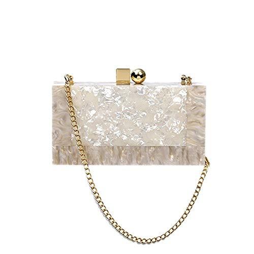 GUODLIN Women's Evening Bag Creative Personality Ice Cracked Acrylic Clutch Bag Fashion Party Box Handbag