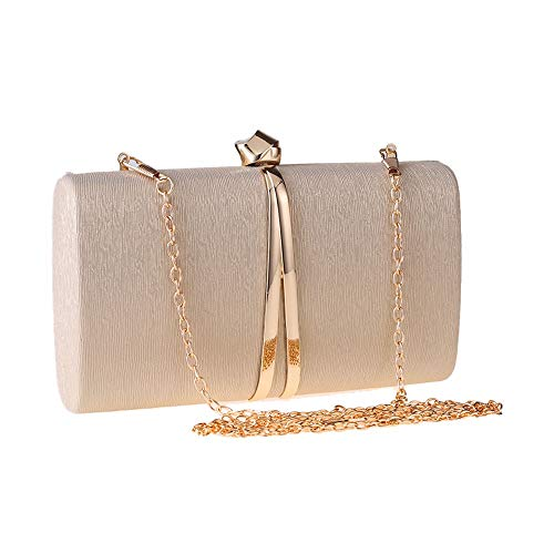 NSHUN Evening Clutch Bag for Womens – Elegant PU Leather Wedding Purse Formal Cocktail Bridal Prom Handbag-Gold