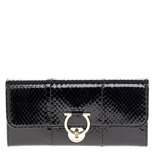 Salvatore Ferragamo Women's Jet Set Wallet Snakeskin Black
