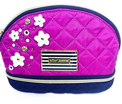 Betsey Johnson Hot Pink Fushia Quilted Applique Embellished Make Up Case Bag
