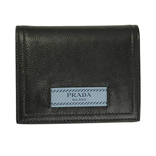Prada Black Leather Bii-fold Wallet 1MV204 Nero/Astrale