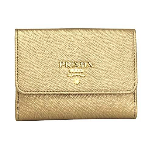 Prada Gold Saffiano Leather Bi-fold Wallet 1MH523 Quarzo Mordore