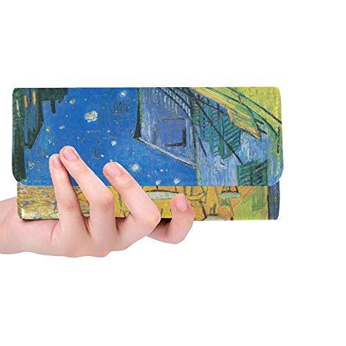 Unique Custom Cafe Terrace At Night By Vincent Van Gogh Women Trifold Wallet Long Purse Credit Card Holder Case Handbag
