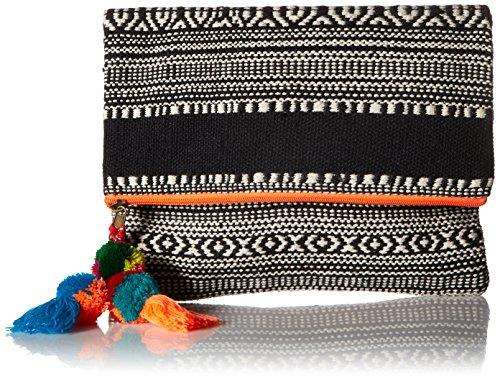 'ale by alessandra Women's Segovia Tribal Foldable Clutch With Pom Tassel, Orange, One Size
