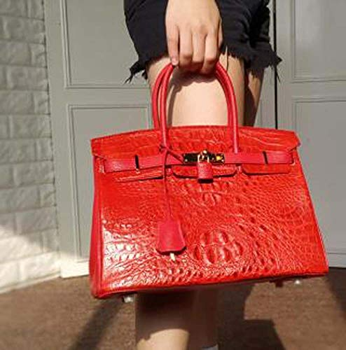CZZS Elegent European and American Shoulder Messenger Style Crocodile Skin Handbag Red (30 14 23cm) Charming