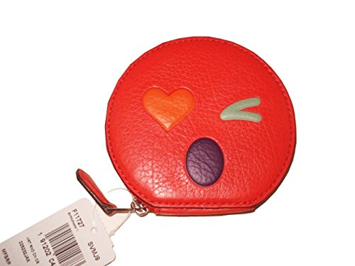 COACH Heart Round Coin Case In Glovetanned Leather F11727 Silver/Multi Color