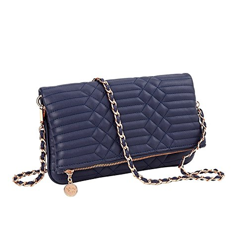 Sydney Love Quilted Vegan Leather Fold-Over Clutch Crossbody, Navy