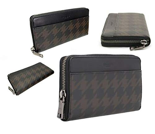Coach Boxed Gift Set Men's Accordion Zip Wallet in Coated Canvas with Houndstooth Print & Glovetanned Leather Interior (Black Brown/Antique Nickel)