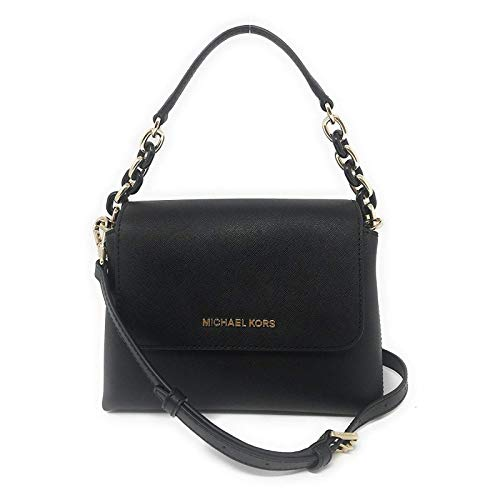 Michael Kors Portia Small EW Leather Satchel Crossbody Bag in Black