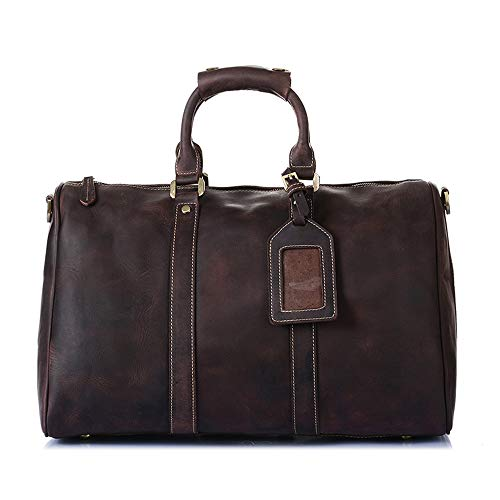 TangFeii Travel Bag Large Travel Luggage Tote Capacity Handbag Leather Waterproof Bag for Men Suitable for Long Time Vocation Waterproof Weekend Bag