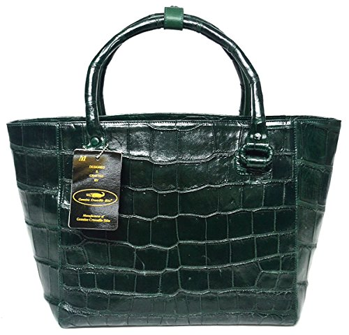 Authentic M Crocodile Skin Womens Belly Leather Basket Bag Huge Tote Handbag
