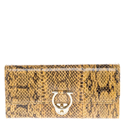 Salvatore Ferragamo Women's Jet Set Wallet Snakeskin Gold