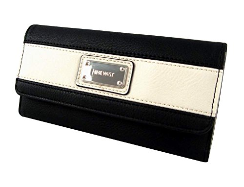 Nine West Segment Checkbook Wallet, Black/White