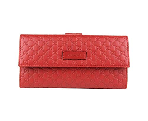 Gucci Women's Red Microguccissima Leather Trifold Wallet With Logo 449393 6420